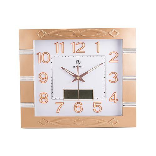 "Analog Plus Digital Radium Wall Clock - 14x16"" - Silver & Golden"