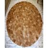 Natural Beige Brown Round Pyramid Cowhide Patchwork Rug