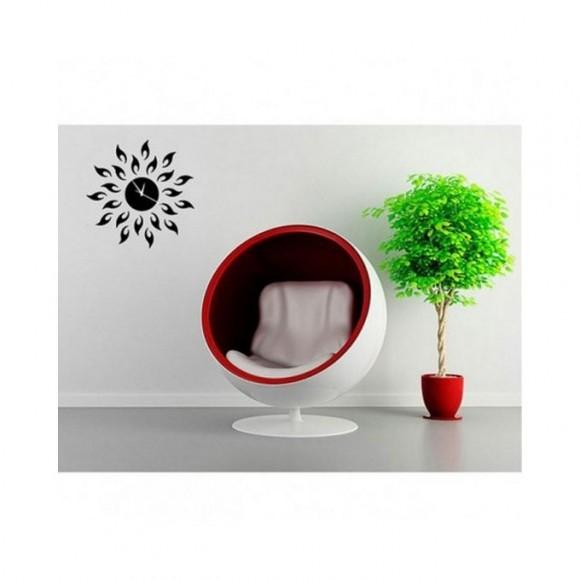 Flower Shape Black Modern Design Acrylic Wall Clock - Black
