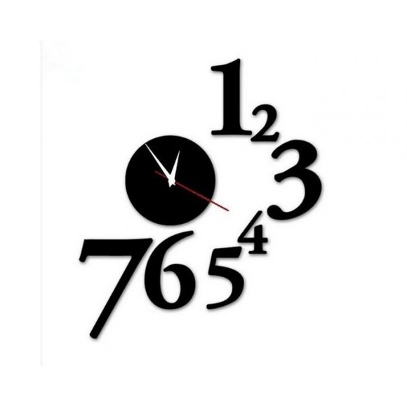 1 To 7 Numbers Round Shape Acrylic Wall Clock - Black
