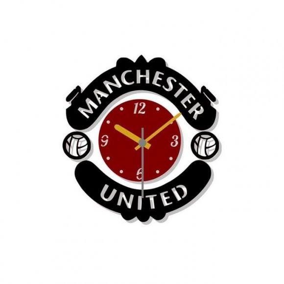 Manchester United Football Club Acrylic Wall Clock - Black & Red