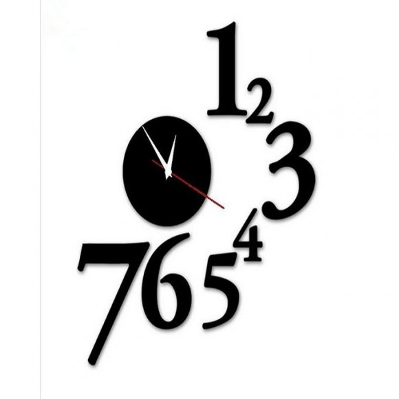 1 To 7 Numbers Round Shape Acrylic Wall Clock - SA