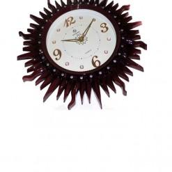 Wall Clock Sun Design Brown