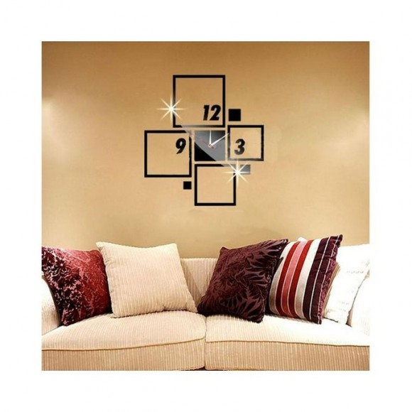 Square Blocks Design Acrylic Wall Clock - Black