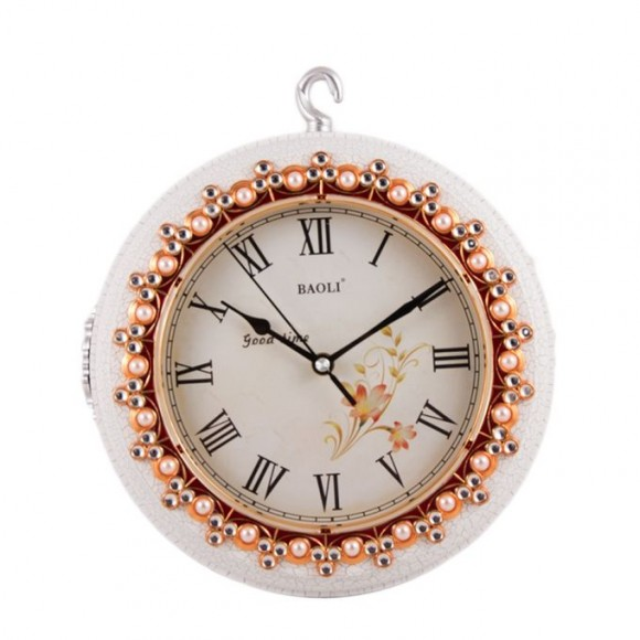 """Europeon Style - Double Face Wall Clock 25x18"""" - White"""
