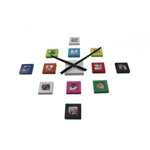12 Photo Wall Clock & Photo Frame - Multicolor