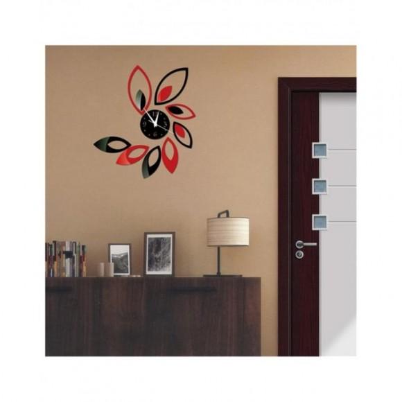 Flower Wall Clock - Black & Red