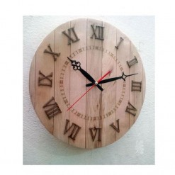 Wood Strips Vintage Wall Clock with Roman Digits