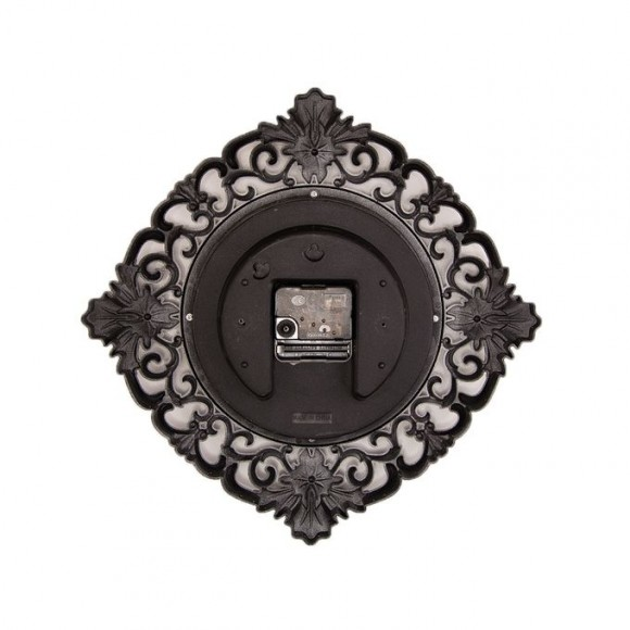 """Floral Pattern Wall Clock With Silver Finish - 12x12"""""""