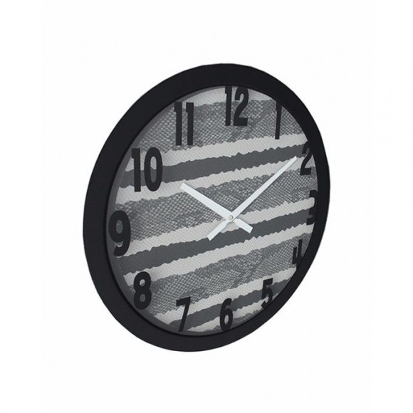 Fabric Texture King Snake Wall Clock - Black & White