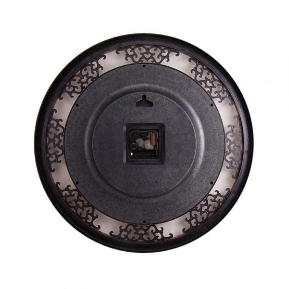 "Stylish Golden Center Dial Wall Clock 16x16"" - Maroon"