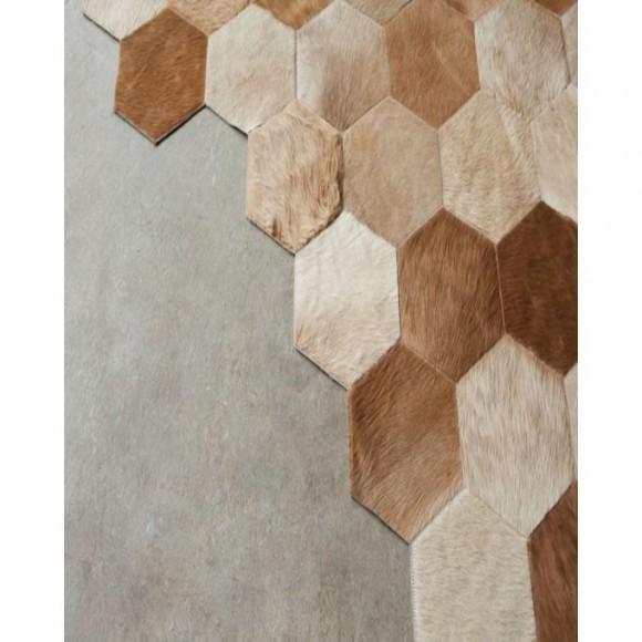 Beige Hexagon Geometric Design Cowhide Patchwork Rugs