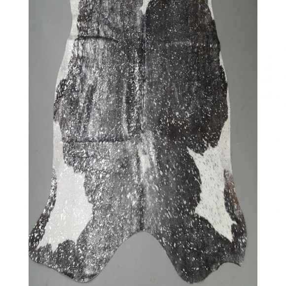 Silver Metallic On Natural Black And White Cowhide Rug