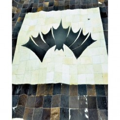 Batman Logo On Cowhide Patchwork Rug