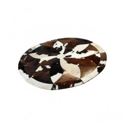 Cow Hide Patch Rug Round - 4x4 - 16 Sq Feet - Brown
