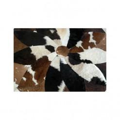Cow Hide Patch Rug Round - 4x4 - 16 Sq Feet - Brown & White