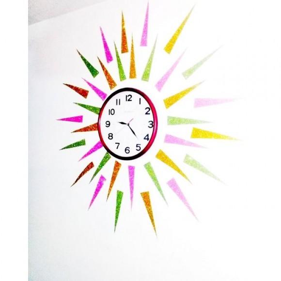 Glitter Wall Clock Decor No 10077 With Wall Clock