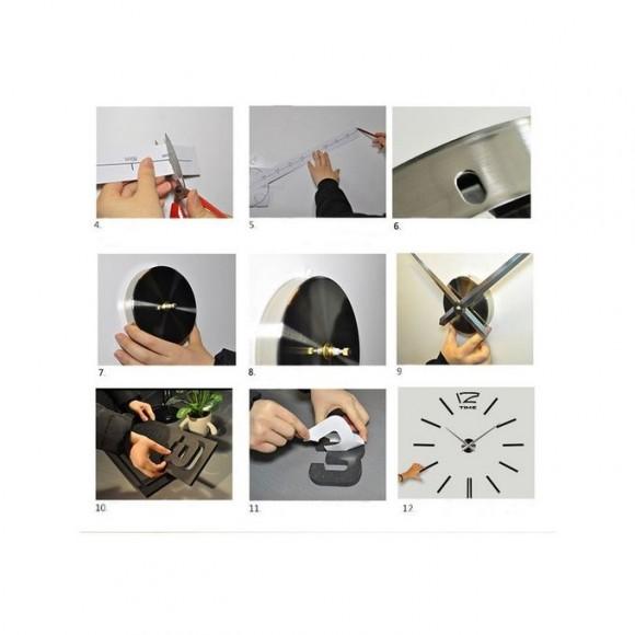 Modern 3D Mirror Acrylic Wall Clock - Black