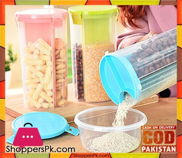 3 Sections Airtight Jar for Cereals Snacks Pulses 2.2 Liter