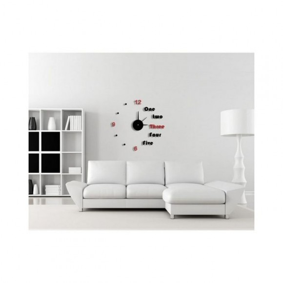 Cooper Half Alphabet Acrylic Wall Clock - Black & Red
