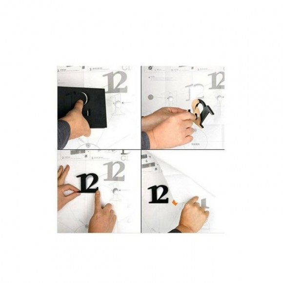 3D Frame-less Wall Clock - Black