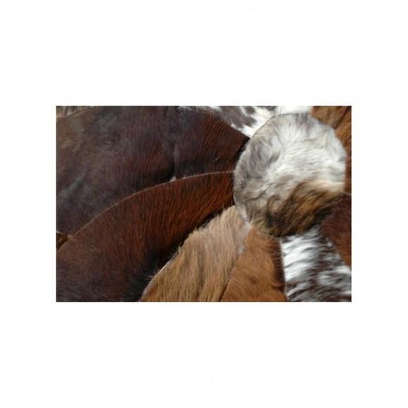 Cow Hide Patch Rug - Round - 4x4 - 16 Sq Feet - Brown & White