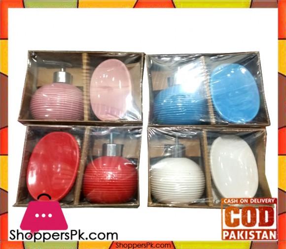 Ceramic Soap Dispenser And Soap Dish Set One Pack