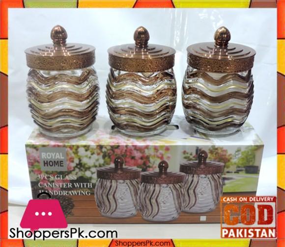 Glass Canister Jar Set 3 Pieces Set