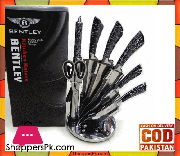 High Quality Kitchen Knife Set Black With Acrylic Stand 8 Pieces