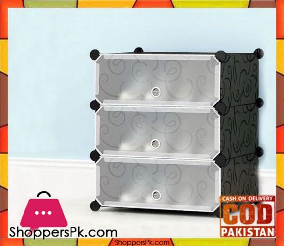Intelligent Plastic Portable 3 Cube Shoe Cabinet