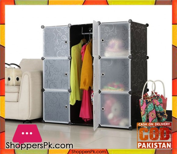 Intelligent Plastic Portable Cube Cabinet 9 Cube with Cloth Hanging