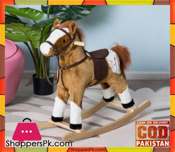 Kid Plush Rocking Horse Ride on Toy Pony with Realistic Sound