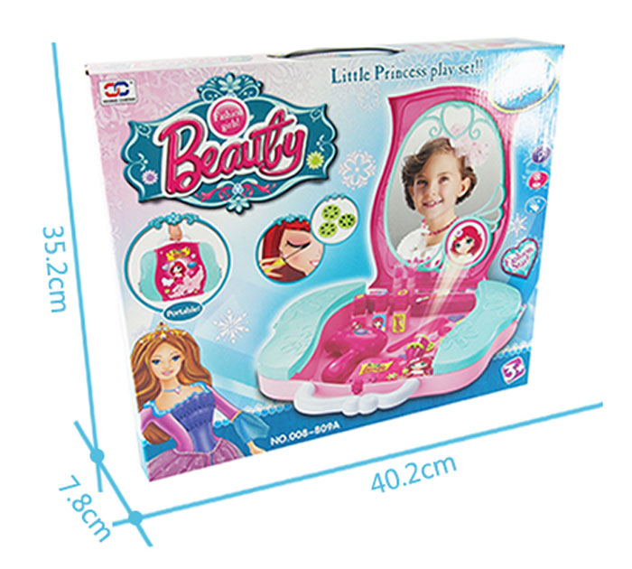 Llittle Princess Beauty Play Set Toy Portable Suitcase Girl Make up with Mirror 008-809A