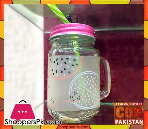 Mason Jar Fruit Print Check Led & Color Straw