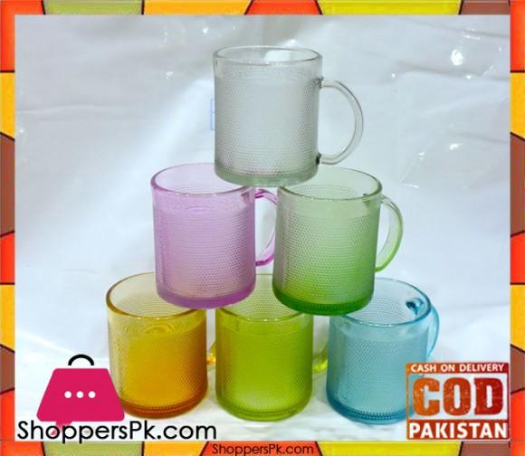 Colorful Glass Mug Set Six Pieces