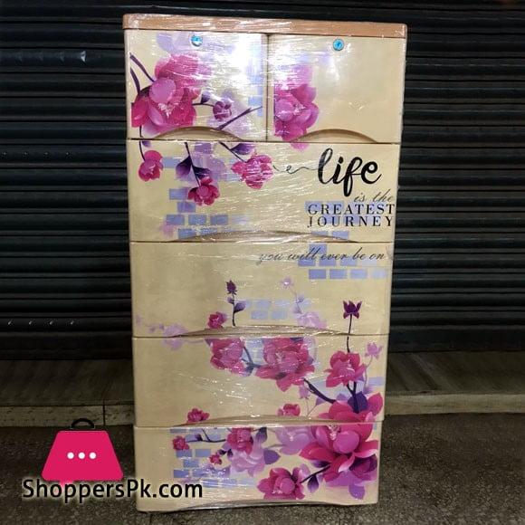 Plastic Drawers Cabinet Big Flower Print