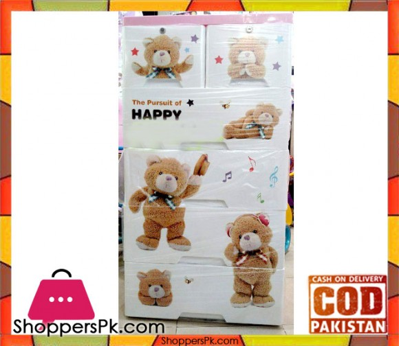 Plastic Drawers Cabinet Soft Bear Print