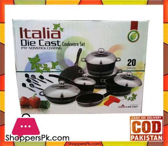 Sonex Italia Die Cast Non-Stick Cookware Sat 20 Pieces