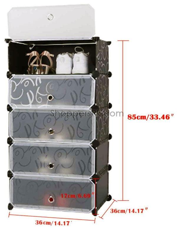 Intelligent Plastic Portable Cube Cabinet -5 Cube
