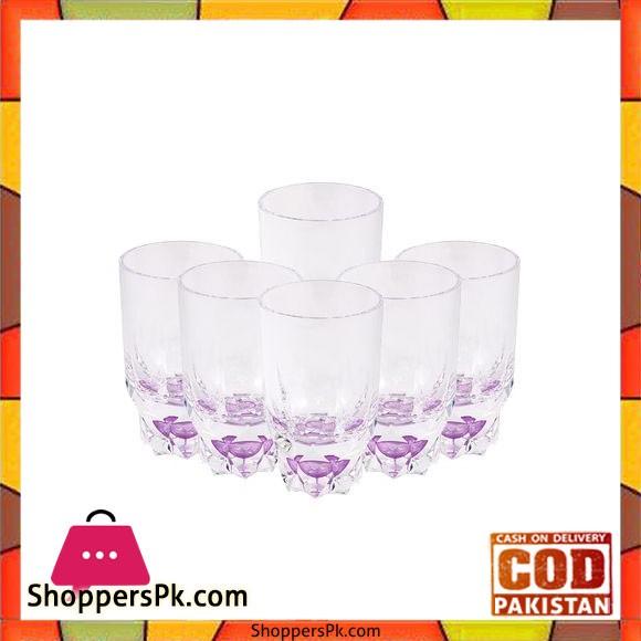 Acrylic Round Diamond Cut Base Crystal Tumbler Set - 6 Pieces - Purple - BH0014AC