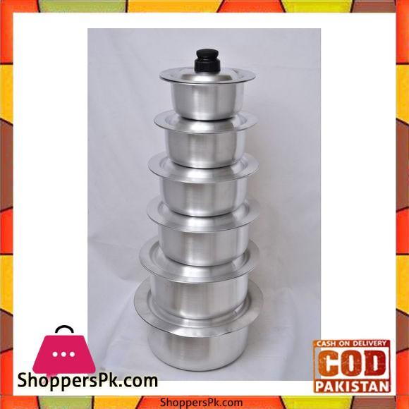 Crockery King Steel Deghchi Set Stainless Steel - 6 Pieces