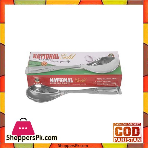 National Gold Set of 6 - Stainless Steel Spoons - Silver