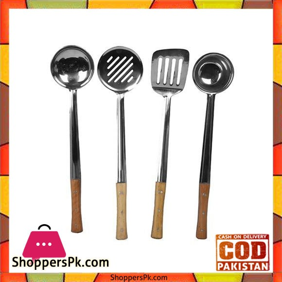 Set of 4 - Stainless Steel Spoons - Silver