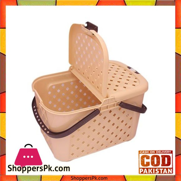 Portable Storage, Picnic and Carry Basket With Lid