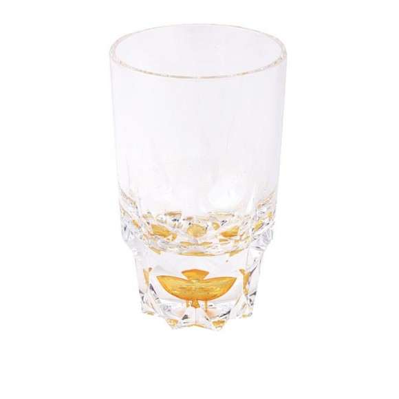 Acrylic Round Diamond Cut Base Crystal Tumbler Set - 6 Pieces - Yellow - BH0014AC