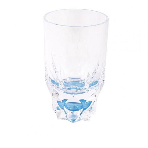 Acrylic Round Diamond Cut Base Crystal Tumbler Set - 6 Pieces - Blue - BH0014AC