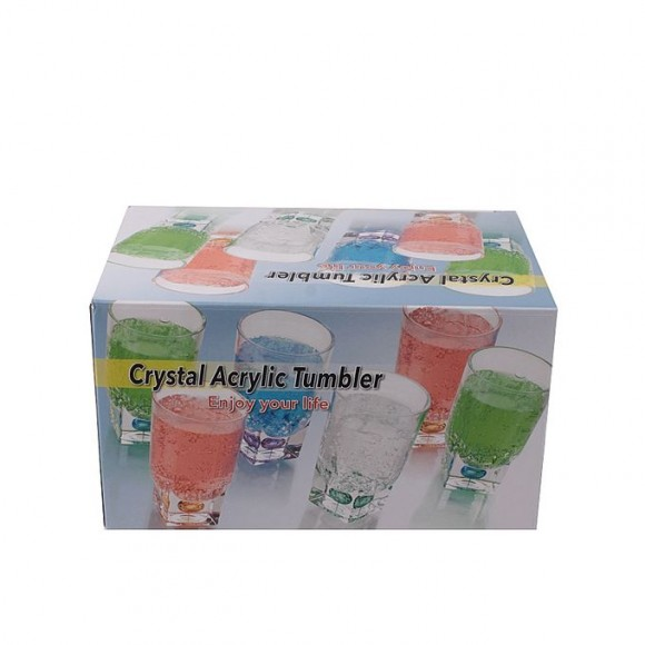 Acrylic Square Base Crystal Tumbler Set - 6 Pieces - Red - BH0015AC