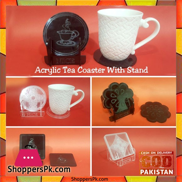 Acrylic Tea Coaster With Stand 7 Pieces