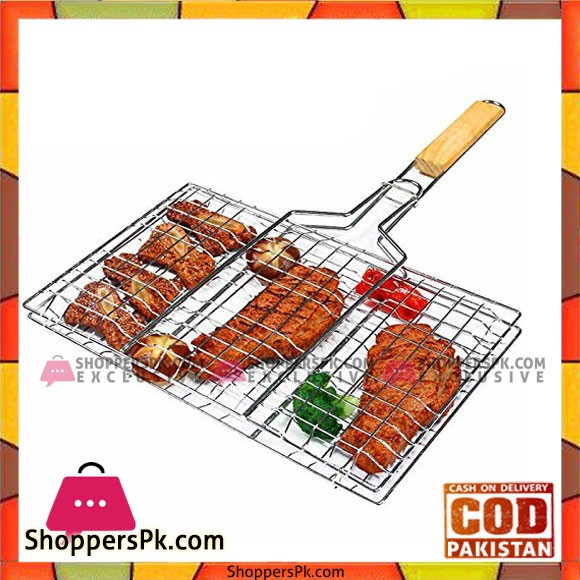 Barbecue Roaster Grill Wooden Handle - Large