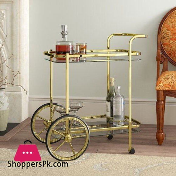 Gold Brass and Glass Bar Cart Mini Bar Tea Trolley Rectangular